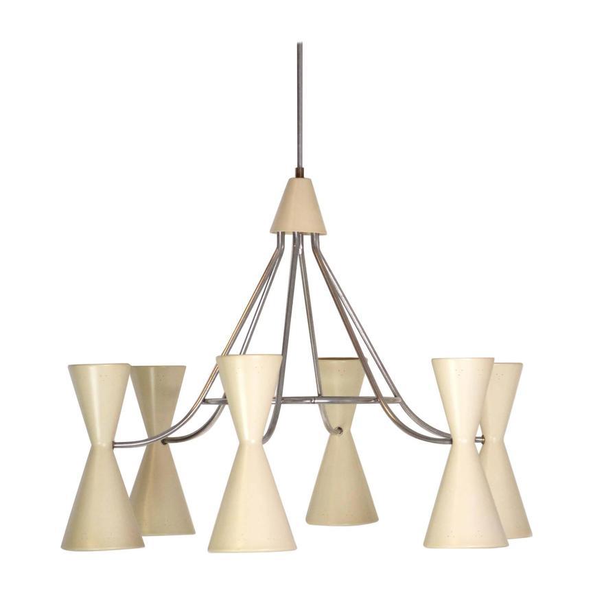 Large Mid Century Modern Six Double Cone Chandelier Porter Plunk