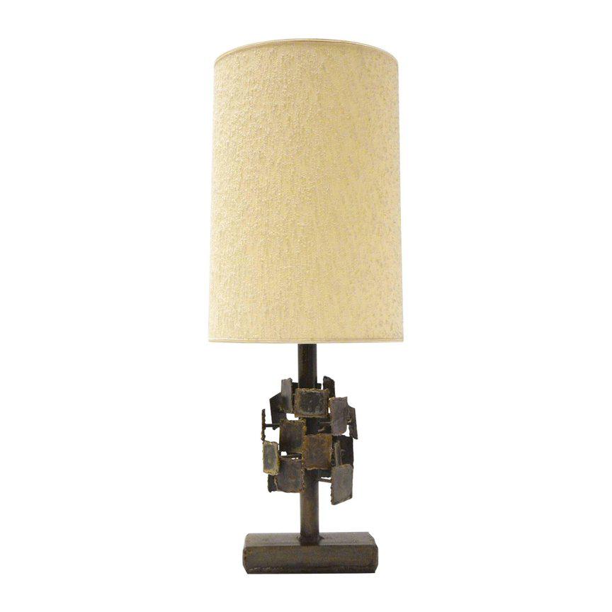 BRUTALIST TORCH CUT STEEL TABLE LAMP