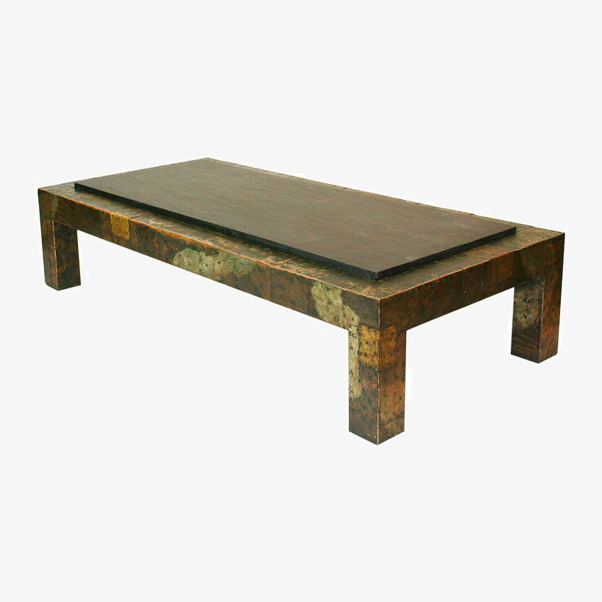 Attirant LARGE PAUL EVANS PATCHWORK AND SLATE COFFEE TABLE
