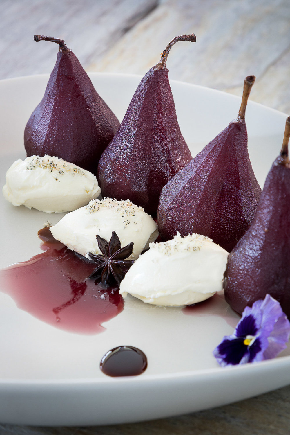 Copy of red wine poached pears
