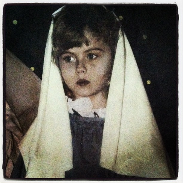 Yours truly as the virgin Mary in my schools Christmas pageant. I was Mary 3 years in a row (until parents complained bc it's kind of the main gig). Fun fact, i peed my costume every year on dress rehearsal day. Childhood anxiety is fun.