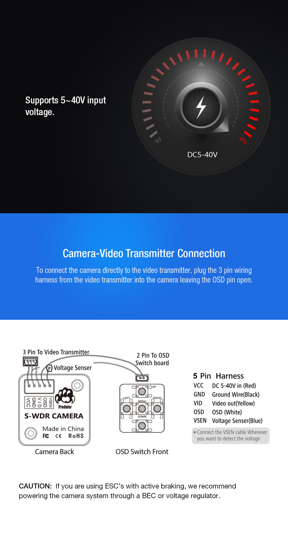 Foxeer Predator Micro V2 Camera Fpv Osd 1000tvl Super Wdr Breakout 3 Pin Wire Harness 20180428040055 10571