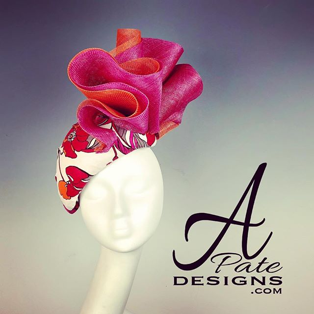 Domed teardrop in linen print w sinamay swirls in beautiful summer colors. Matching dress in the works! www.apatedesigns.com #hatmaker #handmade #kentuckyderby #milliner #couturemilliner #customhat #sinamayhat #racedayfashion #hat #runwayfashion #designer #royal #couture #bespoke #fashion #sydney #melbourne #london #losangeles #newyork #paris #miami #chicago #style