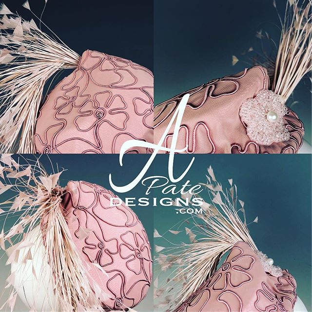 Silk organza in beautiful blush w feather spray and beaded flower applique. Can be worn left or right for a different look. www.apatedesigns.com #hatmaker #kentuckyderby #milliner #handmade #custom #silk #fascinator #blush #pink #raceday #hat #runway #designer #royal #couture #bespoke #fashion #sydney #melbourne #london #losangeles #newyork #paris #miami #chicago #style