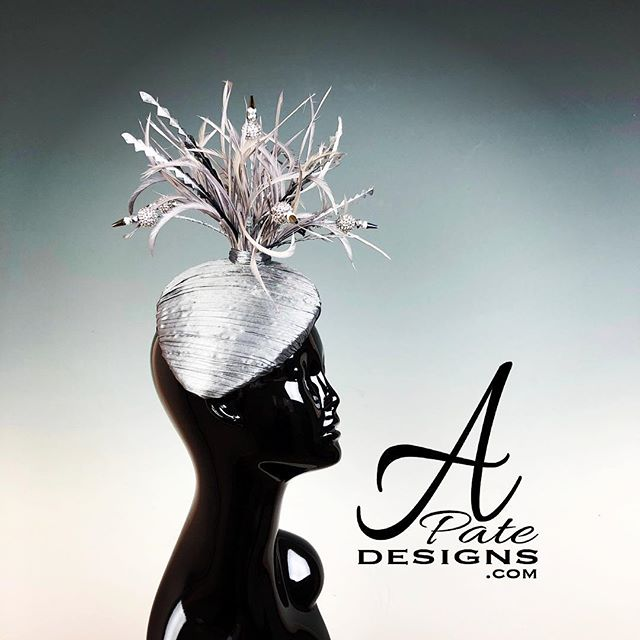 Luscious krinkled silver silk w handmade spray of crystal beaded stems wrapped in silk and feathers. www.apatedesigns.com #hatmaker #kentuckyderby #milliner #handmade #custom #raceday #silk #teardrop #hat #feathers #runway #designer #royal #couture #bespoke #fashion #sydney #melbourne #london #losangeles #newyork #paris #miami #chicago #style #austria #nola #catwalk