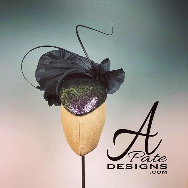 Iridescent designer finished genuine suede teardrop w silk abaca, silk flower and quills. Wear it to the front or side, you choose. www.apatedesigns.com #hatmaker #raceday #milliner #handmade #custom #raceday #silk #teardrop #hat #leather #runway #designer #royal #couture #bespoke #fashion #sydney #melbourne #london #losangeles #newyork #paris #miami #chicago #style #austria #nola #catwalk
