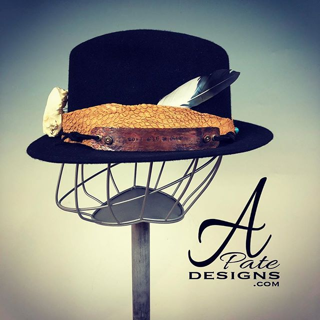 'Don't Walk in Fear' Black untouchable fedora w cut leather band, skull, stamped and textured copper, turquoise rivet and feather.  www.apatedesigns.com #hatmaker  #leather #music #musician #custom #fashion #festival #fedora #hipster #designer #hat #concert #jazz #blues #rock  #fedora  #skull #boho #porkpie #sydney #melbourne #london #losangeles #nola