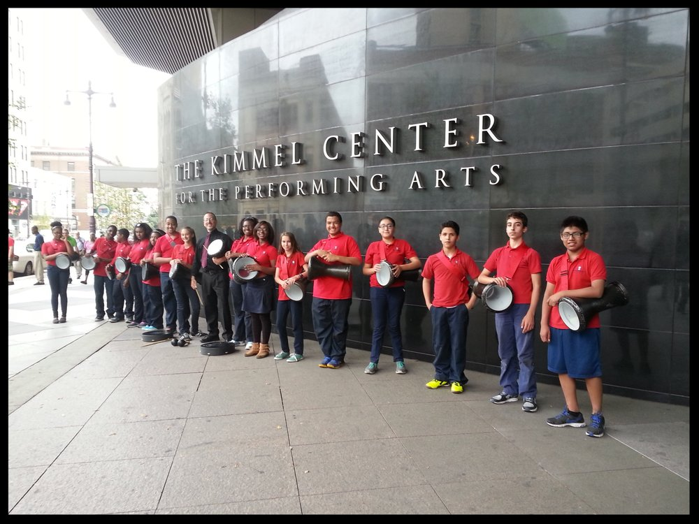 Students from Independence Charter School's World Drummers with Joe outside the Kimmel Center in Philadelphia.