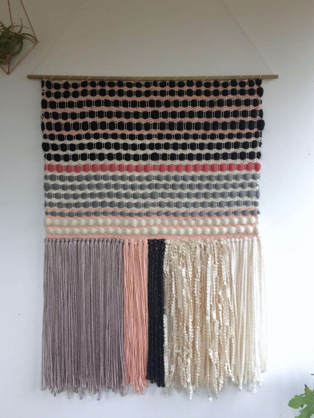 Kate Koconis - (@kkoconis)'Untitled', 2017Kate Koconis lives and works out of her home studio in Providence Forge, VA. She is responsible for all things Little Black Sheep Studio. All the ideas, designs and finished products come from her two hands. She has been weaving for over 10 years now, and loves it just as much as the first day she discovered this craft. Using natural materials and traditional techniques, Kate creates modern unique pieces that can fit into any space. Her goal is to make beautiful items created honestly, to make you feel at ease with your surroundings.  Each piece is one of a kind, handmade with the utmost of care, to ensure they will last a lifetime (or more).