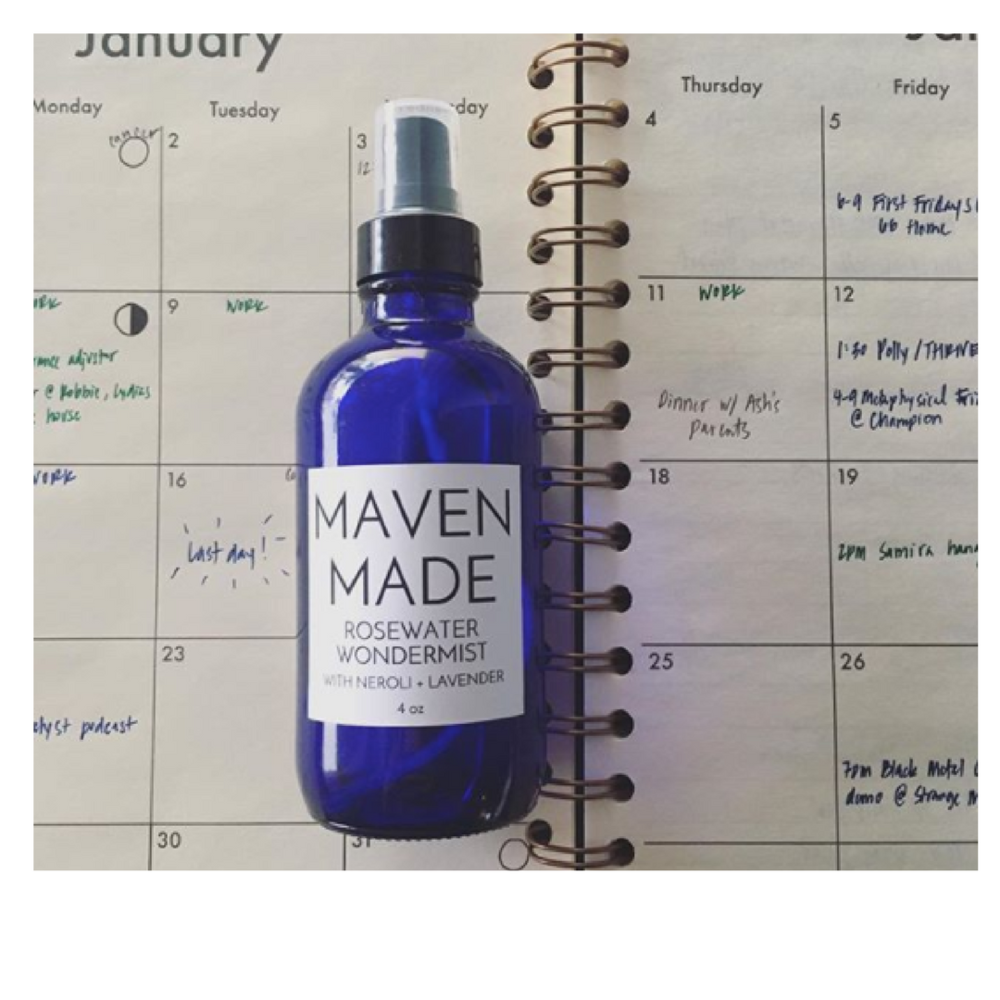 The bathroom is stocked with all-natural wellness + beauty products by Maven Made.
