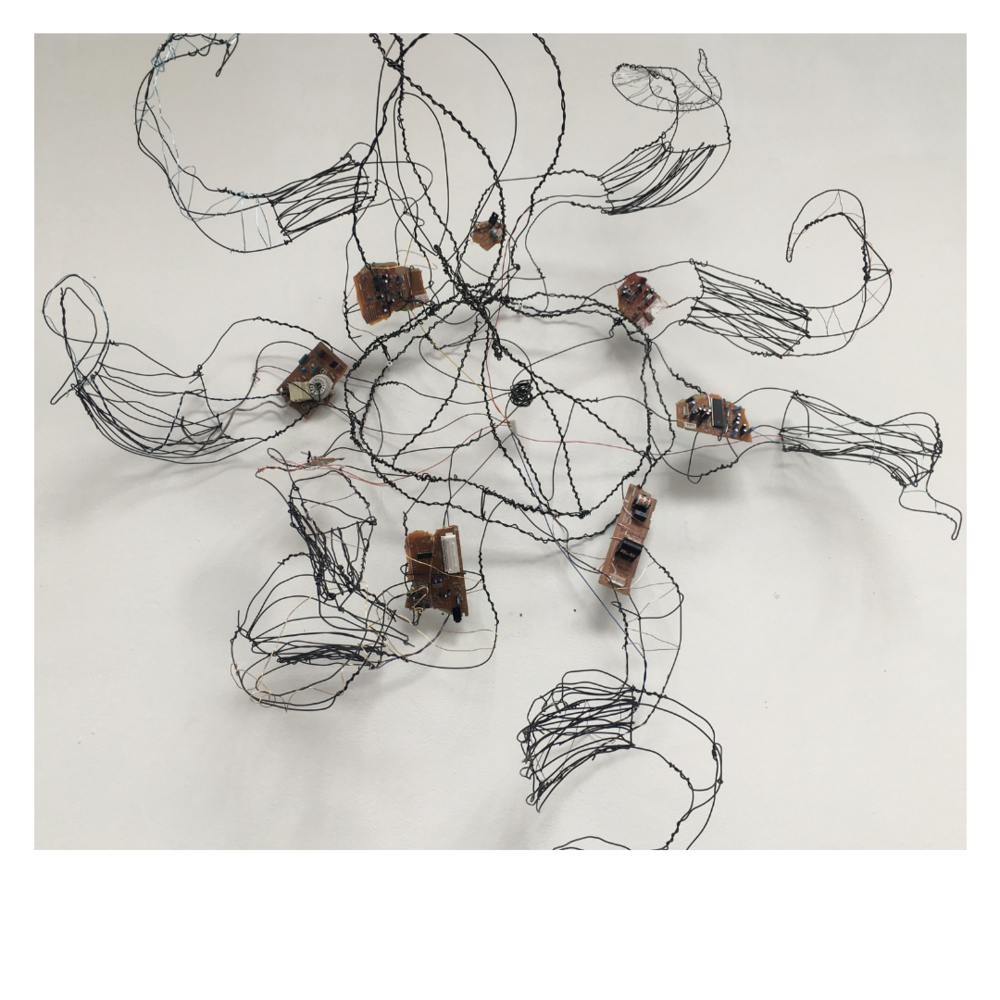 """Danielle Freeman Jefferson - 'Ubuntu: (I am because we are)'Richmond, Virginia and Greensboro, North Carolina based sculptor and landscape architecture student, Danielle Freeman-Jefferson, has been refining her skills in wire sculpture for the last three years. Although there are a few acrylic pieces, Danielle focuses mainly on wire and accents such as dried acrylic, used encaustic, and old television parts. Danielle is passionate about social and environmental justice and is inspired by """"natural technology""""—that is, the presence of technology in the natural world. By better understanding and utilizing concepts such as biomimicry we can change the course of technological development for the benefit of animals (and people). For this body of work, Danielle decided to step away from the world of politics and activism, which she usually inhabits and focus more on the influence that nature and natural systems have had on the progression of human technologies."""