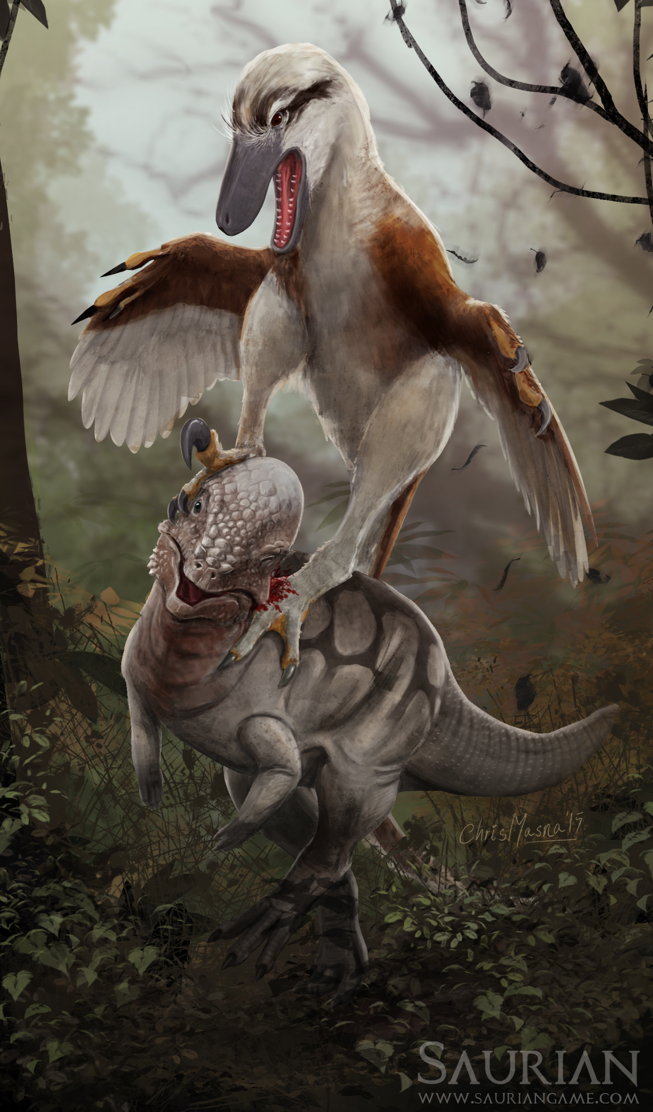 Dakotaraptor attacks Pachycephalosaurus by Chris Masna.