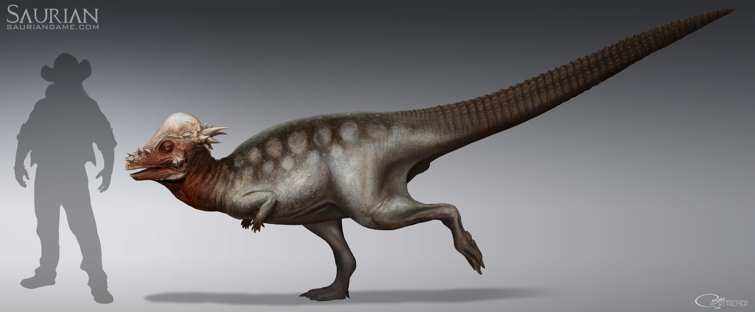 Pachycephalosaurus adult final concept art by RJ Palmer.