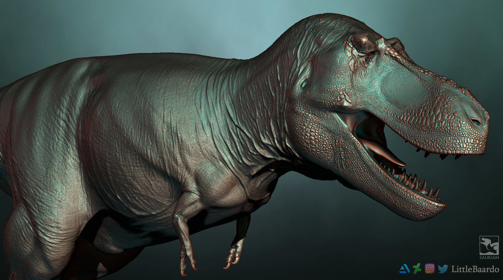 Work in Progress  Tyrannosaurus  sculpt with photo scanned skull and scale-mapped skin texture from Jakely.