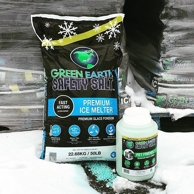 We will deliver a 50lb bag of blue ice melt and a convenient 9lb jug of pet friendly ice melt for only $25! Want more? Purchase three 50lb bags and a 9lb jug for only $60! #greenearthsafetysalt DM us to set up your delivery day. *while supplies last