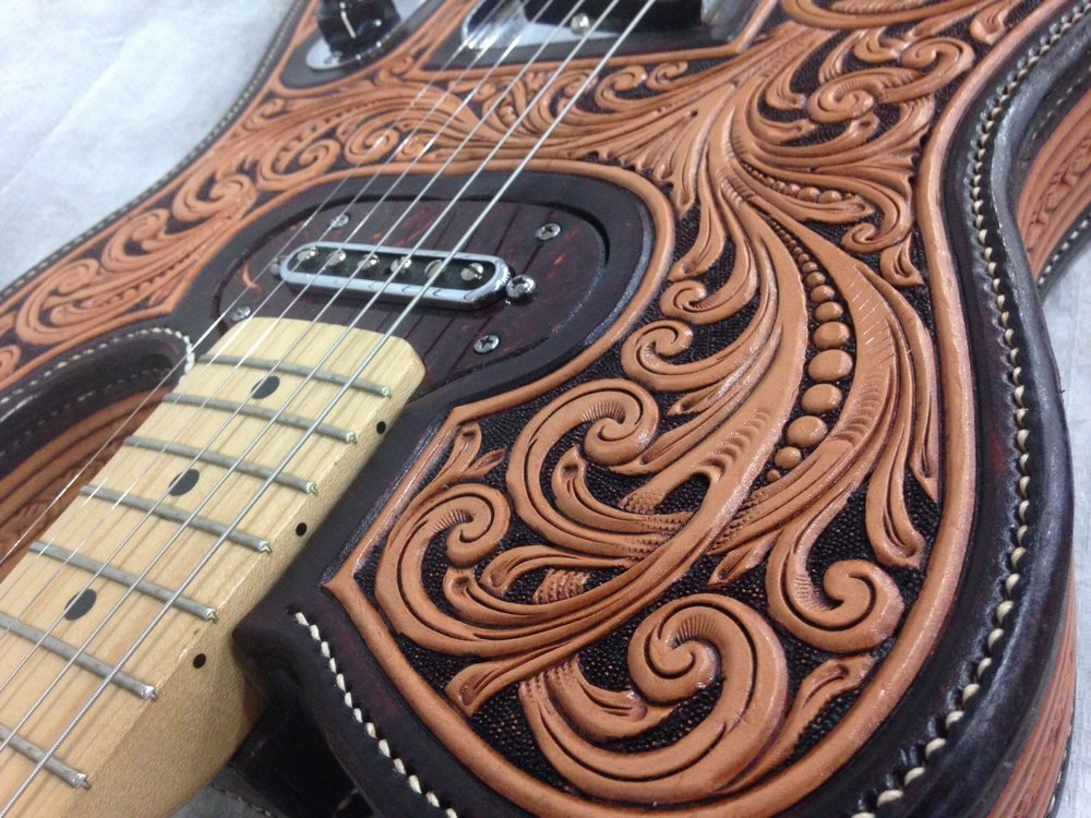 Fully Tooled Leather Covered Telecaster
