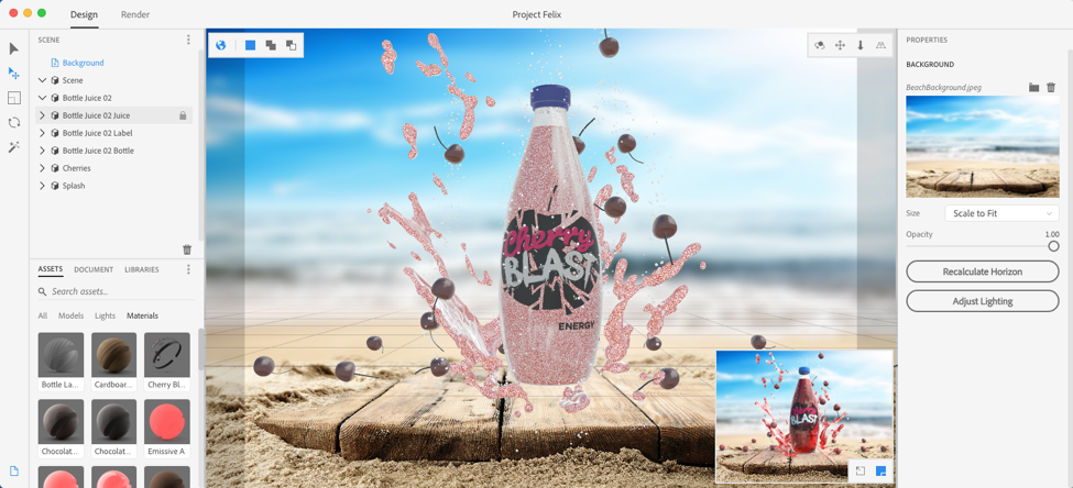 Project Felix makes it easy to composite 2D and 3D assets to build product shots, scene visualisations and abstract art. And it's made for graphic designers, not 3D experts.
