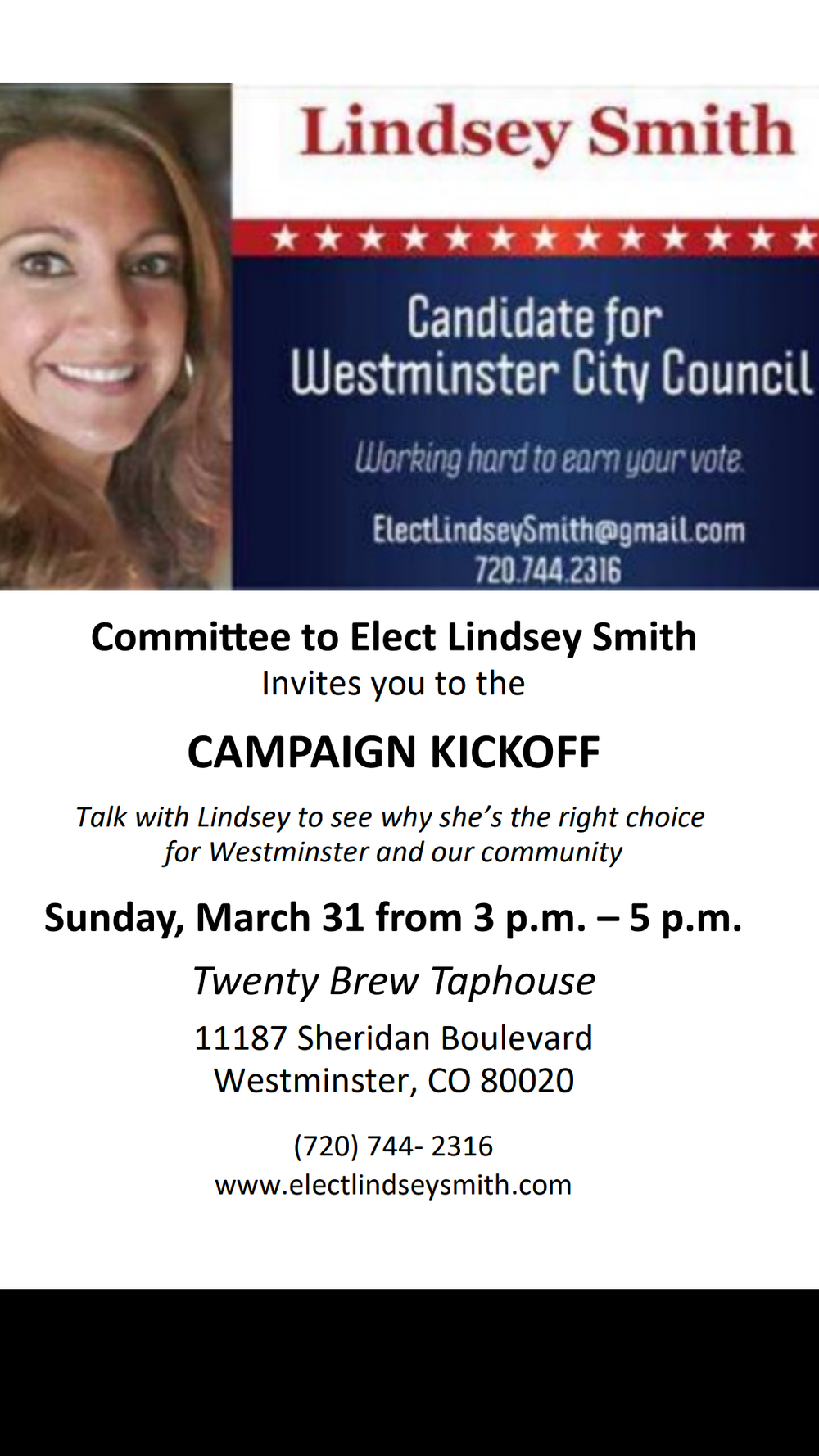 Campaign Kickoff March 31 @ 3 p.m. @ Twenty Brew TapHouse