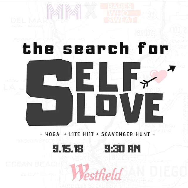 Days away from The #SearchForSelfLove Scavenger Hunt! - @babeswhosweat And @micromeetup Have teamed up to celebrate the nationally recognized #selfcareawarenessmonth this Saturday! - Self care isn't always bubble baths and candles, sometimes it's just getting out of bed, taking a shower, and reminding yourself how f*cking amazing you are. Self-love is meeting yourself exactly where you are at with compassion and love. It is knowing what serves you, and removing the things that don't. Everyone's mental health journey is their own, but on this day, we want to be there with you. - The sun will be shining, palms swaying, and self love game strong! - - 🖤We will start our day with conscious breath and intention setting in the morning led by Kayleigh Christina Clark. Then we are turning Westfield UTC into an adult playground for our search for Self Love Scavenger Hunt. Each group will be selected randomly and will begin their epic quest amongst the participating stores. Solving clues, accomplishing tasks, completing lite HIIT challenges, and connecting along the way. - Play at your pace, but the first team to finish wins a grand prize! After one insanely fun morning and a group victor has been named, we will cool down with a restorative yoga flow and community social hour to seal the self-love deal. - - ➰*We have a limited number of tickets available, so advance registration is recommended. Head to link in bio or micromeetup.org for tix + info. ✨