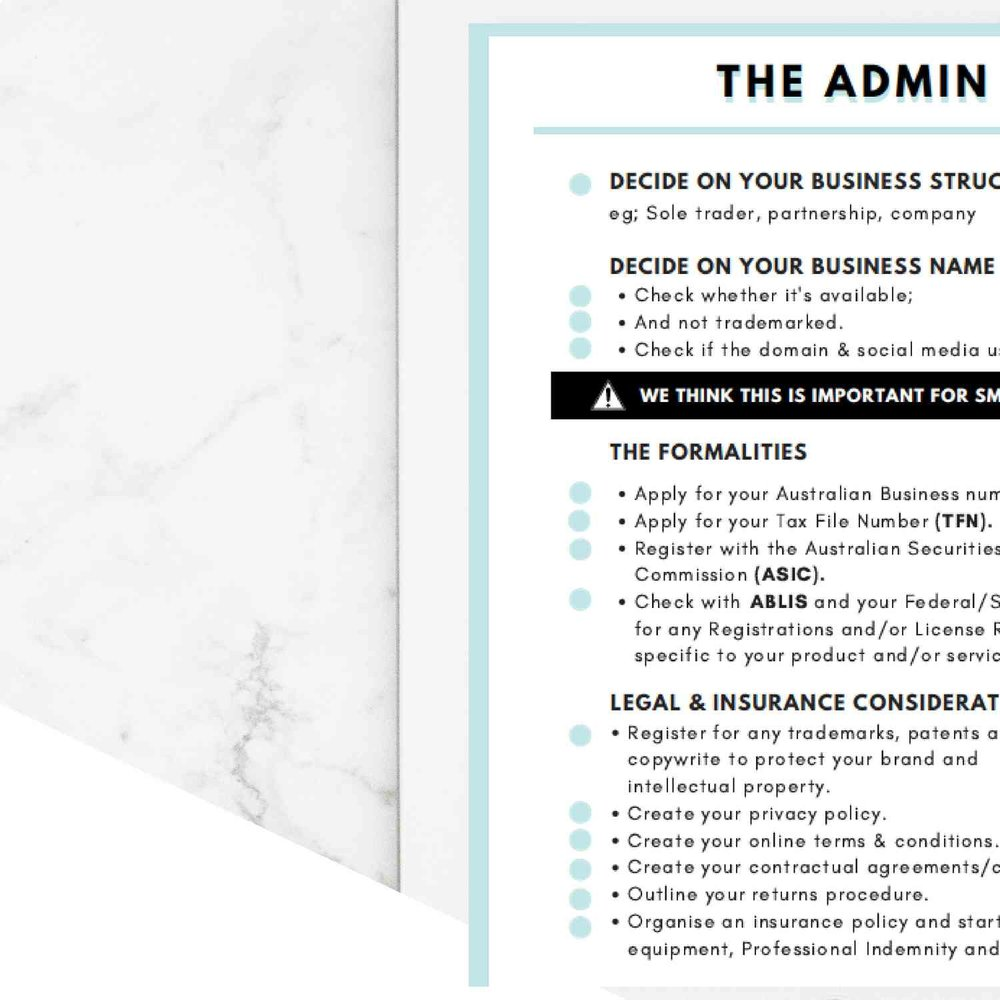 - Small BusinessStart Up Checklist
