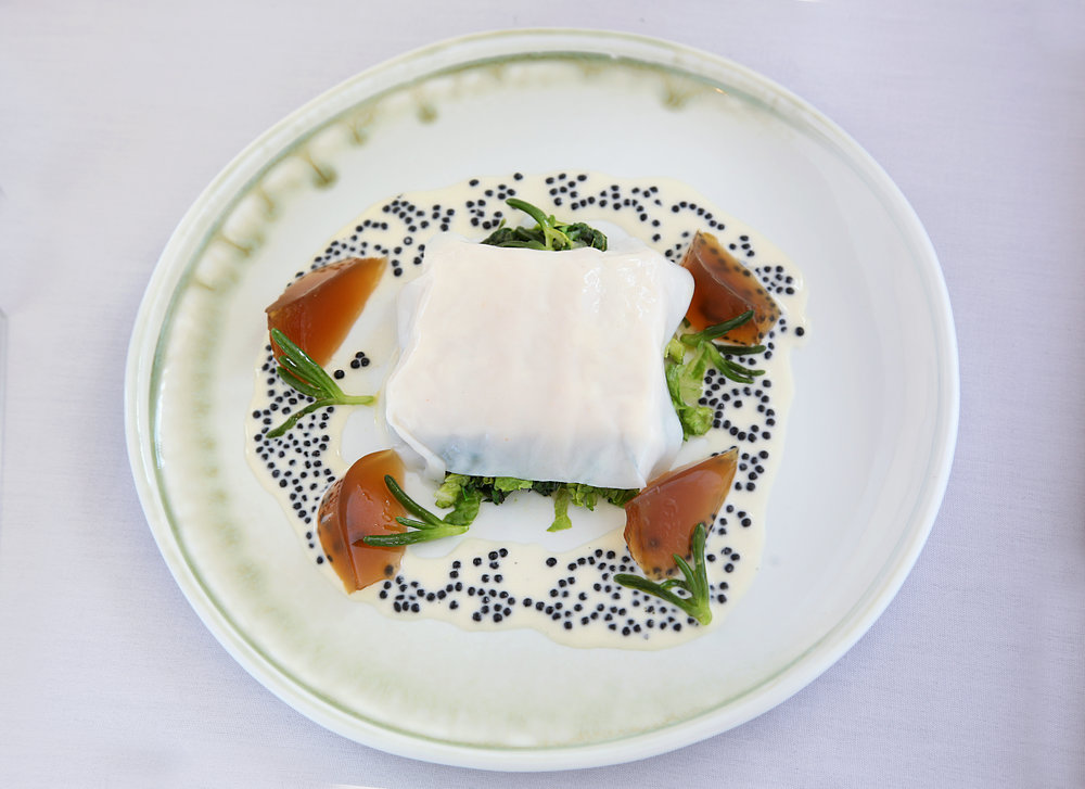 Bathers Pavilion: Poached blue eye trevalla with blue swimmer crab.