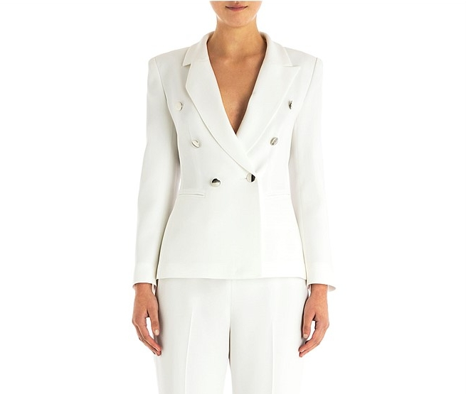 "Carla Zampatti: Alabaster crepe ""Windsor"" jacket and pants. Available   here   or in store locally."