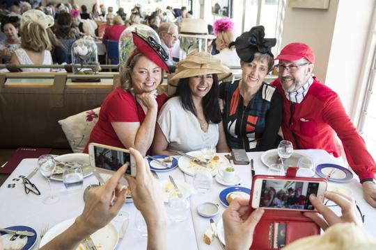 Fiona Hipkiss, Nita Parkes, Alice O'Connor and John (the jockey!)