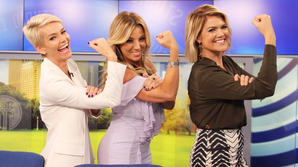 Jo Casamento (middle) on the set of Studio 10 with hosts Sarah Harris and Jessica Rowe.