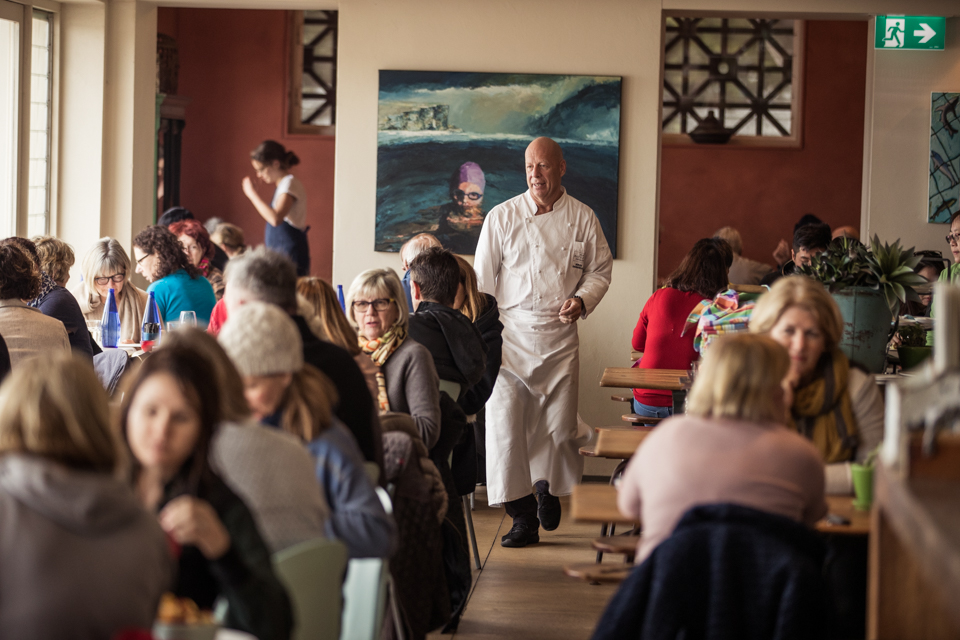 Serge Dansereau walks the floor of his Balmoral restaurant, Bathers Pavilion.  IMAGE: Graham Monro/ gmphotographics