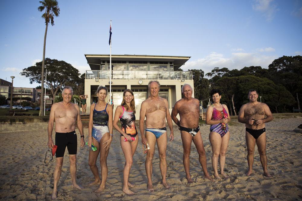 L-R: Balmoral Beach Club members Tony Arena, Karen Panaretto, Cathy Mackay, Peter Ellis, Chris Webb, Jackie Bourne and Brendan Warner.  IMAGE: Graham Monro/  gmphotographics