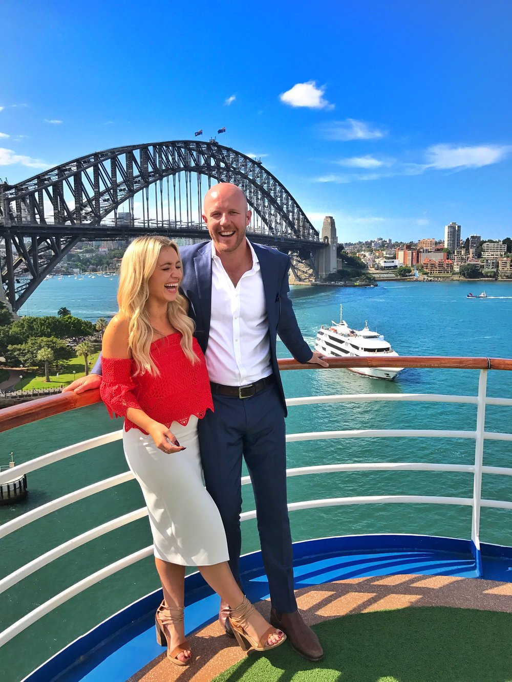 Matt and his stunning journalist partner and wife-to-be, Bronte Coy.