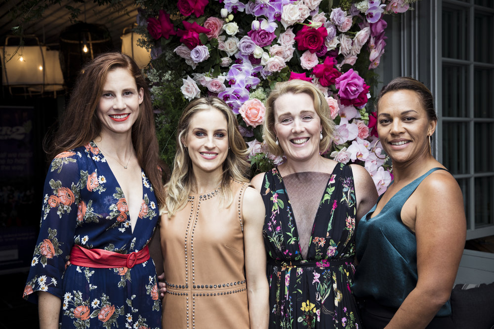 Charity Queens: Tessa Regan, Harriet Waugh, Sheryl Maynard-Fallon and Tamara Martin, who organised Friday's luncheon at Bistro Moncur.