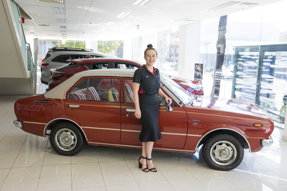 Belinda and her prized 1975 Toyota Corolla.