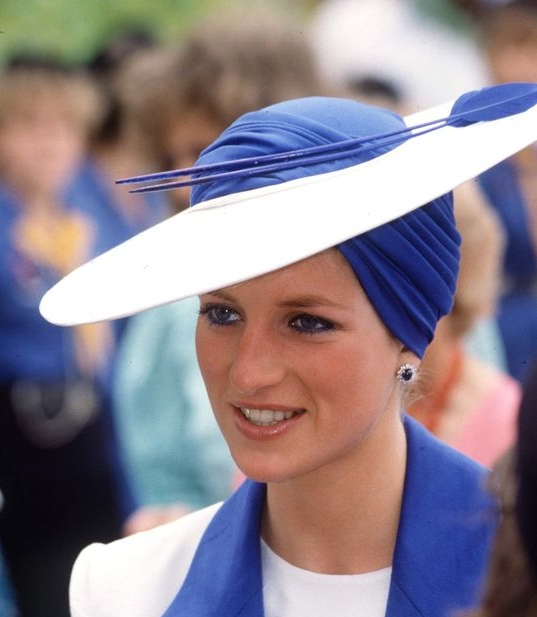 Diana, Princess of Wales - This chic blue jersey turban would work in 2018, Ann says.The Philip Somerville hat was worn during an official tour to the Gulf States in 1989.
