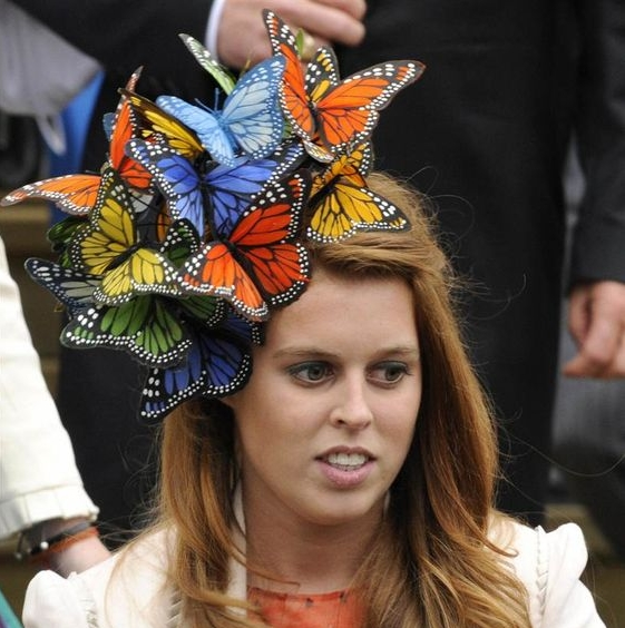 Princess Beatrice - The daughter of Fergie and Prince Andrew almost stole the show at the wedding of Peter Phillips and Autumn Kelly in 2008, with this butterfly strewn headpiece, by Philip Treacy.