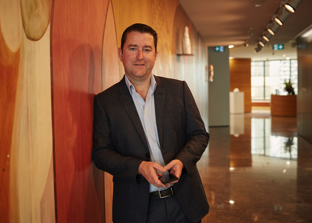 Tech mogul James Spenceley, pictured here at his Sydney office.