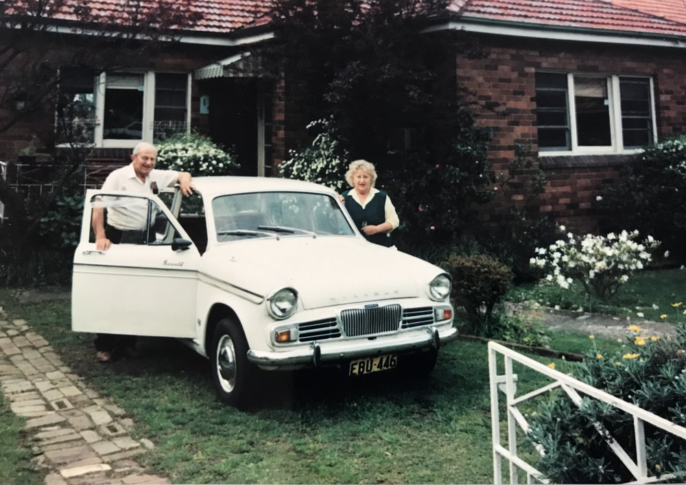 Through the decades: The couple in their Grasmere Rd front yard in the 1960's.