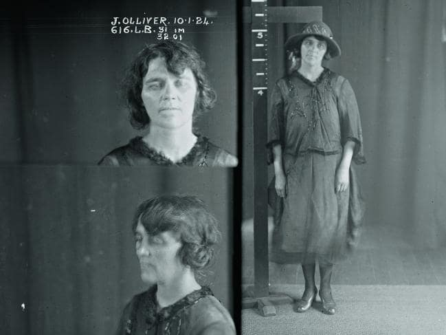 Jean Olliver's mug shot, taken in January 1924.    Image: Sydney Living Museum.