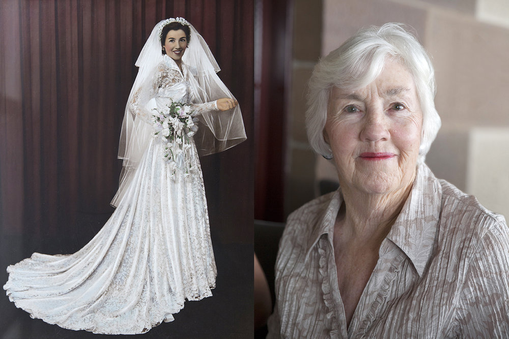 Graham's mum, Edna. Photographed on her wedding day and on her 85th birthday.