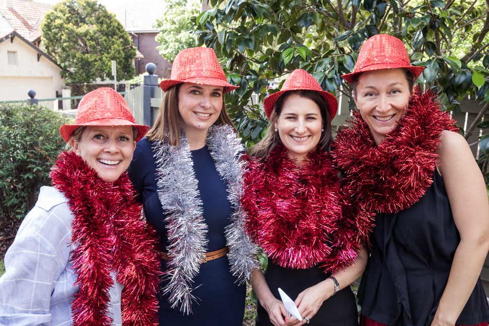 L-R: Christina Ludwigson, Priscilla Schonell, Pam Longstaff and Diana Rampton are busy preparing for the Prince Albert St party.