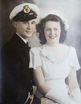 George and Geraldine, photographed on their wedding day in 1946.