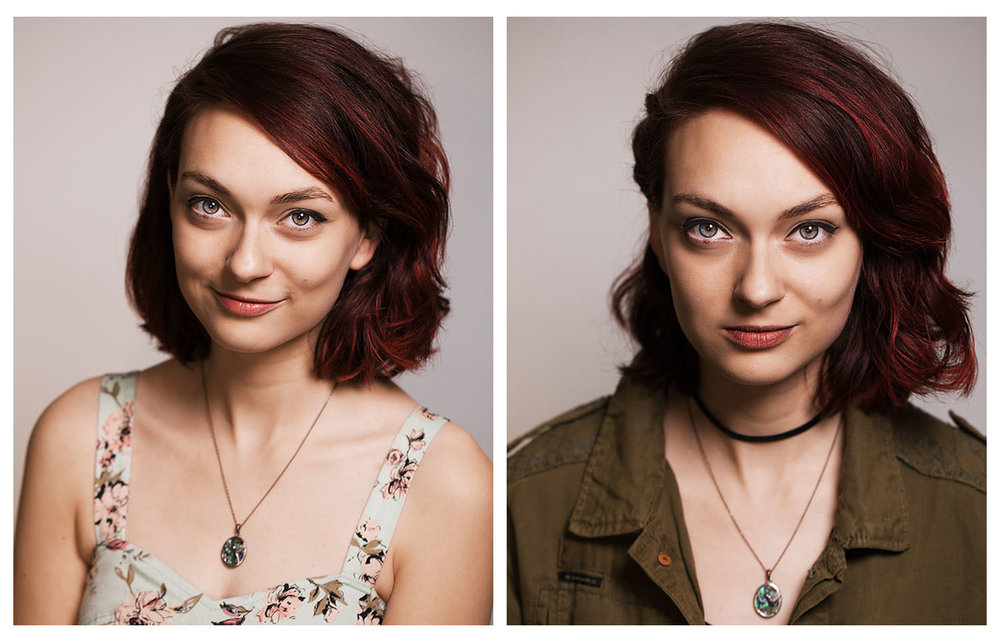 """Two headshots, two """"looks."""" Just make sure your vibe fits the """"looks"""" you choose."""