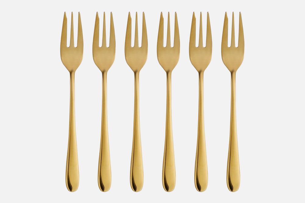Cake fork, gold plated - 6 pcsStainless steelDesign by eb design teamArt. no.: 90136