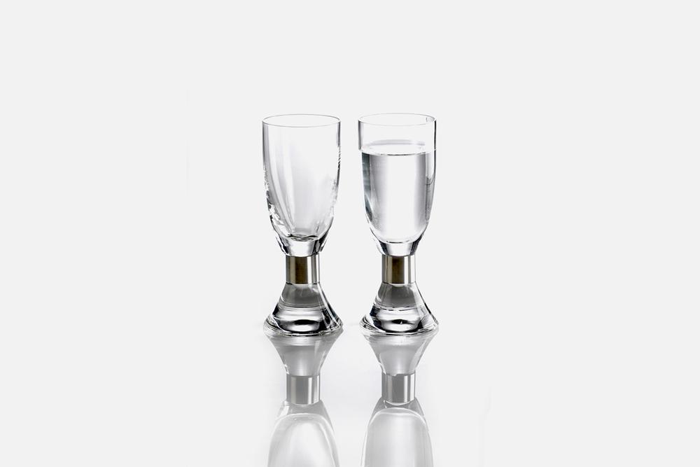 Snapseglas - 2 stk, 5 cl Glas og stålDesign by Erik BaggerArt. nr.: 52205