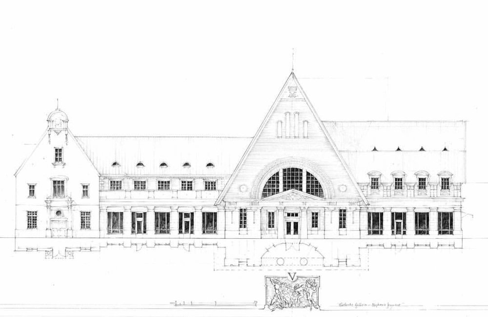 Pencil Power. Drawing of Central Plaza Market in Vasteras, Sweden