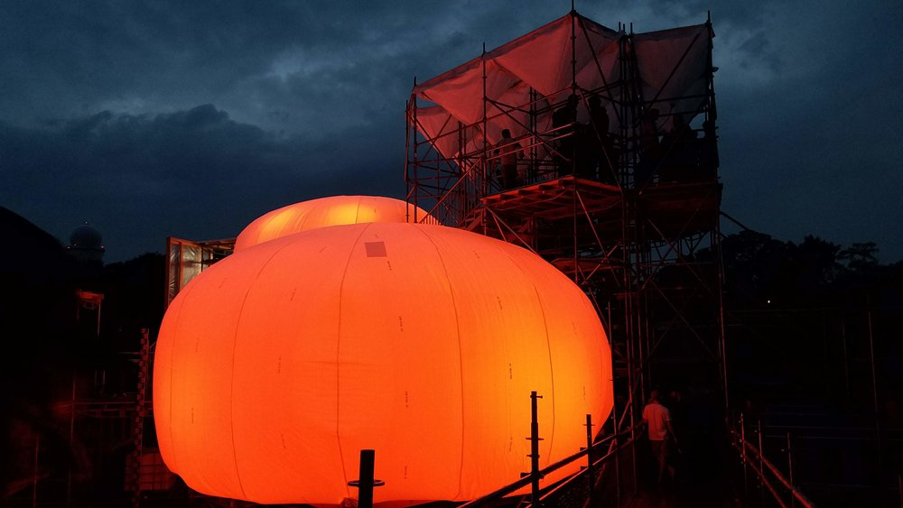 At night, the Floating University resembles a glowing pumpkin patch