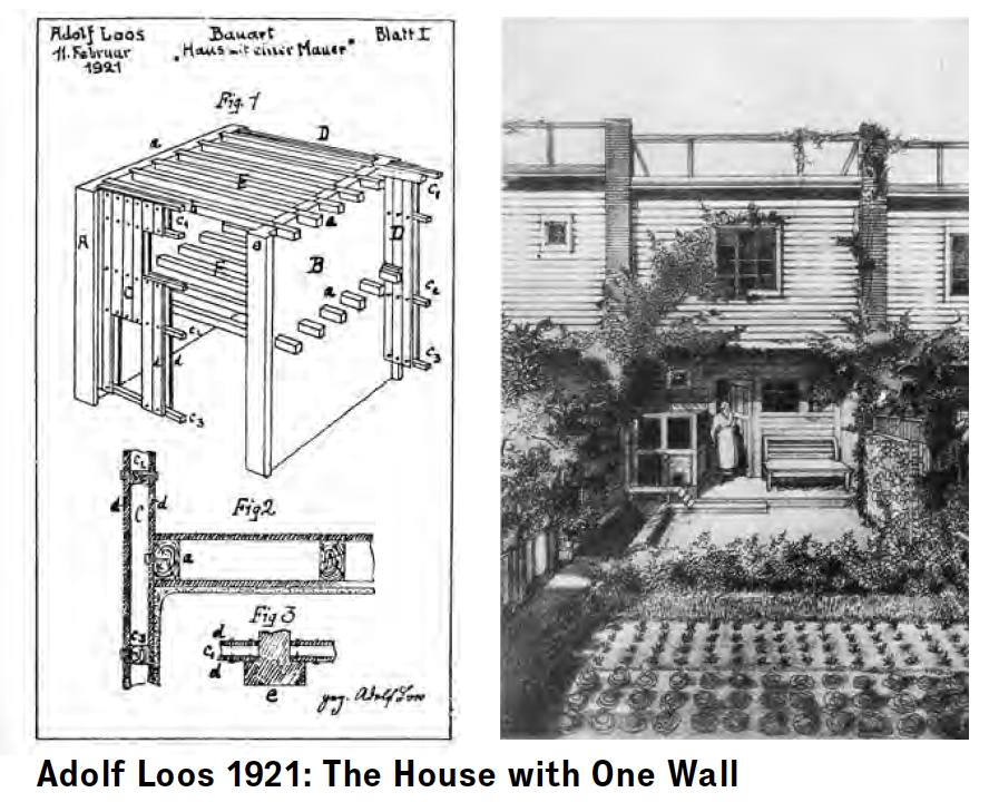 "Architects chasing the wild settlers: an exercise in economy, Adolf Loos's 1921 ""House with one Wall"" foregrounds the garden, the basis for self sufficiency from which, Loos wrote, ""every settlement proceeds."""