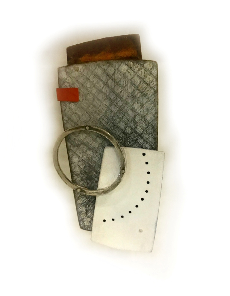 DAY 5: Becky Bliss, Untitled brooch (mild steel, copper, silver, paint)