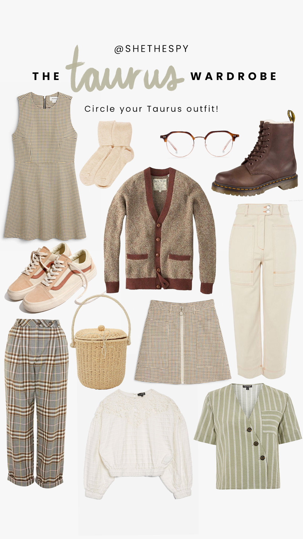 Shop Taurus - Dress: MonkiGlasses: Bailey NelsonSocks: UnknownBoots: Dr MartensSneakers: Madewell x VansCardigan: UnknownJeans: TopshopSkirt: MonkiTrousers: TopshopBag: Poppy & CoWhite blouse: TopshopGreen top: Topshop