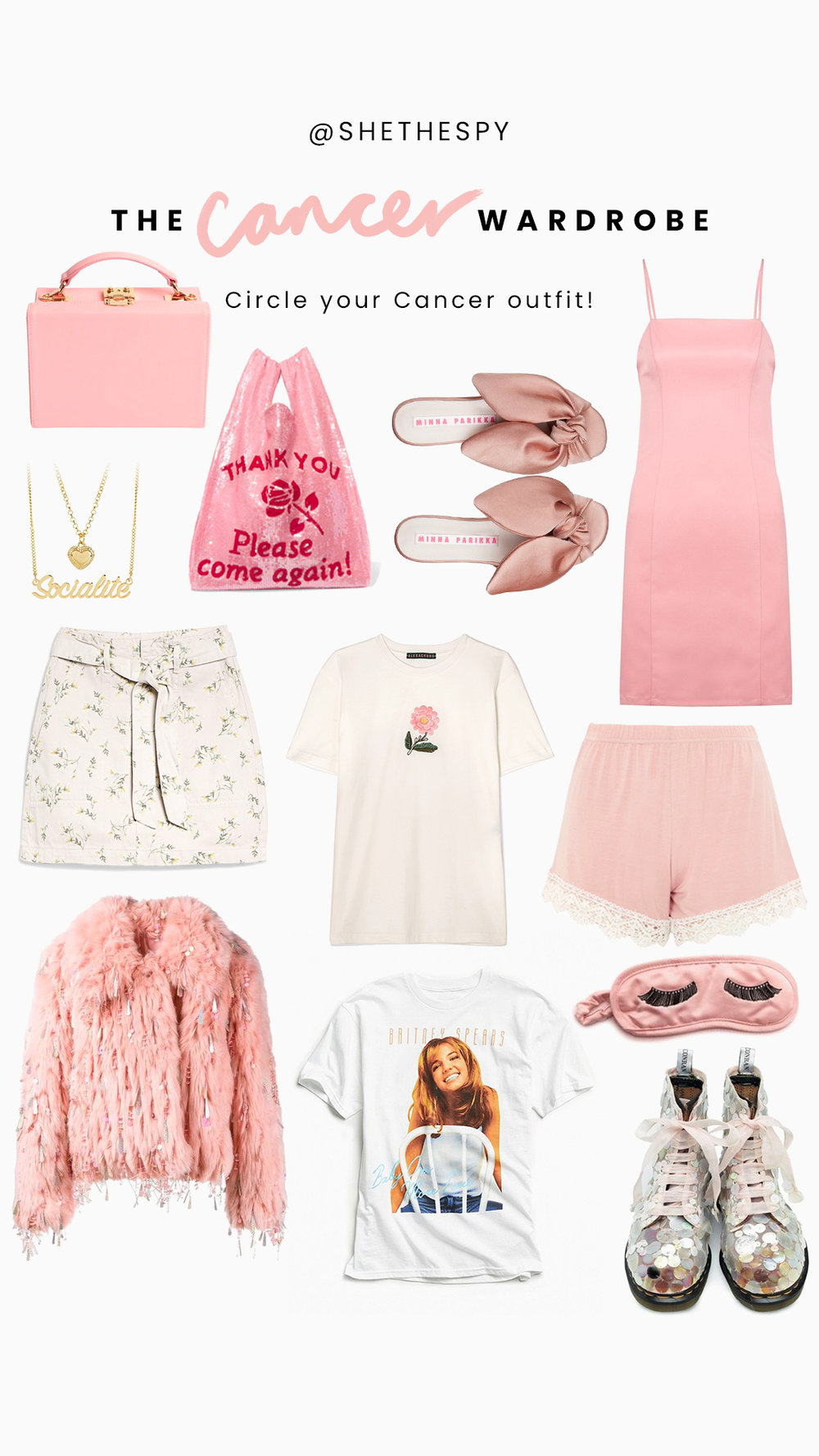 Shop Cancer - Bag: The Daily EditedShopping bag: AshishMules: Minna ParikkaDress: Skinny DipSkirt: TopshopNecklace: Skinny DipFlower tee: Alexa ChungShorts: TopshopEyemask: ShopbopJacket: UnknownBrittany tee: Urban OutfittersBoots: Unknown